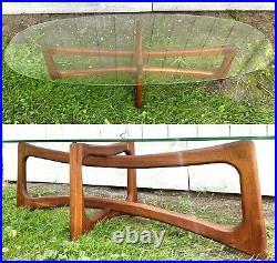 Vtg Adrian Pearsall Ribbon Coffee Table Glass Top Sculptural Walnut Dog Bone MCM