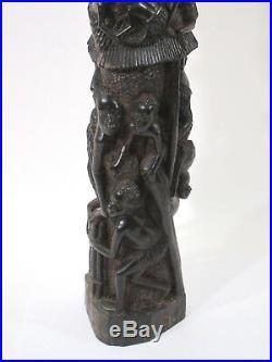 Vtg African Makonde Tree of Life Carving Mpinga Ebony Wood Art Tanzania 24 11#s
