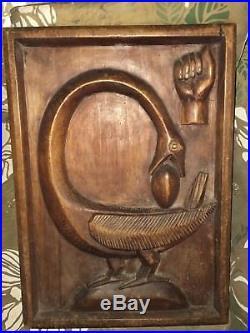 Vtg African Sankofa Carved Wood Wall Sculpture Folk Art Bird Egg Clenched Fist