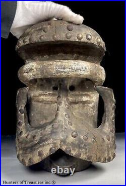 Vtg African Tribal Carving Wood DAN BETE GUERE Studed Mask Ivory Coast Africa
