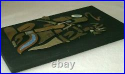 Vtg Aztec Mayan Silver Brass Copper Stone Inlay Wood Wall Sculpture Plaque