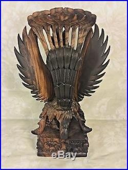 Vtg Balinese Carved Wood Sculpture Vishnu Riding Garuda Njana Tilem Gallery Bali