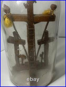 Vtg Bottle Whimsey Arms of Christ Religion Carved Wood Folk Art Whimsey