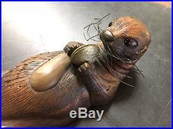 Vtg Carved Wood Otter Duck Decoy Signed Tom Taber Sculpture Cabin Lodge Decor