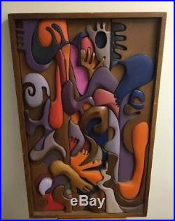 Vtg Carved Wood Relief Abstract Mosaic Wall Hanging Sculpture, Signed Blair York
