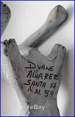 Vtg Duane Alvarez Oaxacan Southwest Folk Art Wood Carving Howling Wolf Coyote