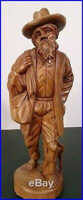 Vtg European Hand Carved Wooden Folk Art Sculpture Traveling Homeless Man with Dog