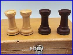 Vtg French Hand Carved design Lardy Staunton Wood Chess Set men felt box 3 K