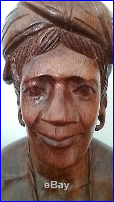 Vtg Hand Carved Wood Igorot Tribe Woman & Man Bust Philippines Sculpture Statues