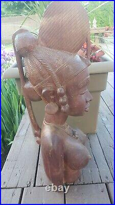 Vtg Hand Carved Wood Woman Sculpture Guinea African Art Head Statue Bust 22 tal