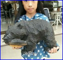 Vtg Japan Bear Wood Carving Ainu Art Hokkaido Japanese Hand Carving Sculpture