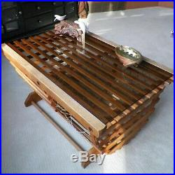 Vtg Lobster Trap Coffee Table Wood Glass Top Abalone Shell John Perry Sculpture