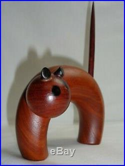 Vtg Mid Century Danish Modern Cat Figurine Wood Sculpture Eames Era