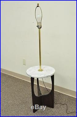 Vtg Mid Century Italian Modern Marble Walnut Brass Sculptural Floor Lamp Table