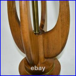 Vtg Mid Century MCM 35 Teak Walnut Wood Brass Tulip Teardrop Sculptural Lamp