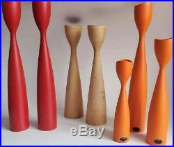 Vtg Mid Century MCM Danish Modern Sculptural Teak Wood Candlestick Pair Set 7 pc