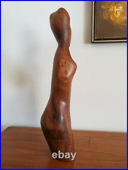 Vtg. Mid Century Modern Nude Female Torso Walnut Sculpture 24 Tall