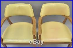 Vtg Mid Century Modern Vinyl Office Arm Chairs Sculptural Laminate Frame Pair B
