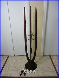 Vtg Modeline Pearsall Style Mid Century Danish Teak Wood Sculptural Table Lamp