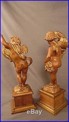 Vtg Putti Cherub Hand Carved Wood Pair 14 ex cond Palladio Italian Sculpture