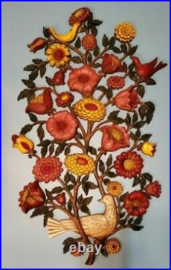 Vtg Syroco Large Wall Art 1965 Flowers Birds Faux Wood Carving 2.5' x 1.5' MCM