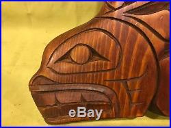 Vtg native northwest coast wood carved orca whale eagle fins Seahawks sculpture
