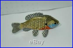 W. Bissett 8.5 Sunfish Bluegill Fish Spearing Decoy Carving Signed
