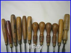 W. Marples & Sons Vtg Set of 12 Wood Carving Chisels/ Gouges Sharpened Good Cond
