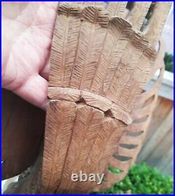 WOW! Vtg thai buddha wood carving dragon horse mask god wings hat art