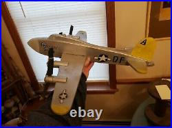 WW2 Wood Bomber Plane Folk Art Whirligig WWII Airplane Weathervane Vintage