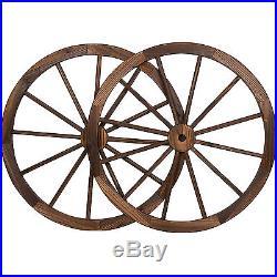 Wagon Wheel Decor 2pc Set Vintage Porch Outdoor Garden Western Display Hanging