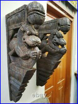 Wall Bracket Corbel Pair Yalli Dragon Lion Statue Vintage Yali Vastu Sculpture
