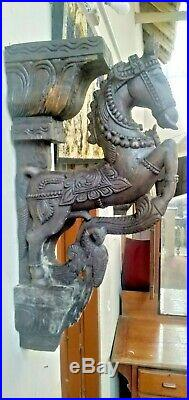Wall Corbel Horse Pair Bracket Wooden carved Sculpture Statue Vintage Home Decor
