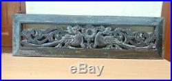 Wall Hanging Wooden Panel Antique Dragon Hand Carved Vintage Estate Home decor