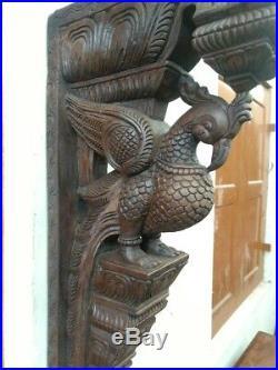 Wall Peacock Corbel Wooden Bird Bracket Vintage Sculpture Home Estate Decor Rare