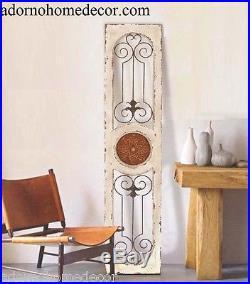 White Metal Wood Wall Panel Antique Cottage Rustic Chic Vintage Unique Decor