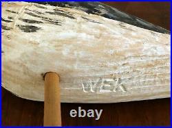 Will E. Kirkpatrick Wek Hand Carved 12.50 Shore Bird Decoy Sculpture Figure
