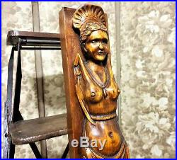 Winged caryatid wood carving corbel bracket Vintage french architectural salvage
