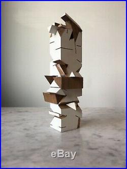 Wood Abstract Vintage Sculpture Brutalist Cubist Modernist Post Modern Op Art
