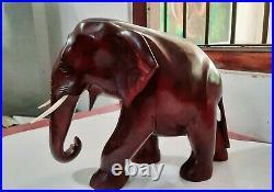 Wood WILD Elephant Sculpture Vintage Wooden Figurine Lucky Statue Hand Craft 12