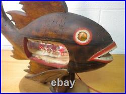 Wood fish ship in bottle lamp folk art Nautical Maritime Outsider Art vintage