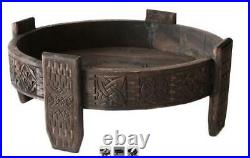 Wooden Antique Round Carving Coffee Table Grinder Table, Indian Food stand Table