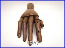 Wooden Articulated Human Hand Artist Mannequin Carved Wood VTG Posable Sculpture