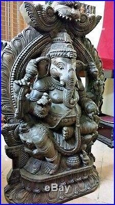 Wooden Ganesh Ganesha Sculpture Vintage Hand carved Statue Hindu Temple Figurine
