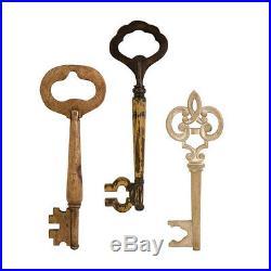 Wooden Wall Keys, 3piece Art, Decor, Sculpture, home, modern, Vintage Distressed