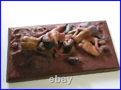 Woods Incredible Nude Erotica Sculpture Orgy Cuddle Puddle Vintage Painting