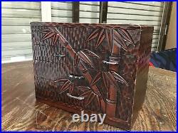 Y2658 TANSU Kamakura carving Sewing Box Japanese antique vintage decor storage